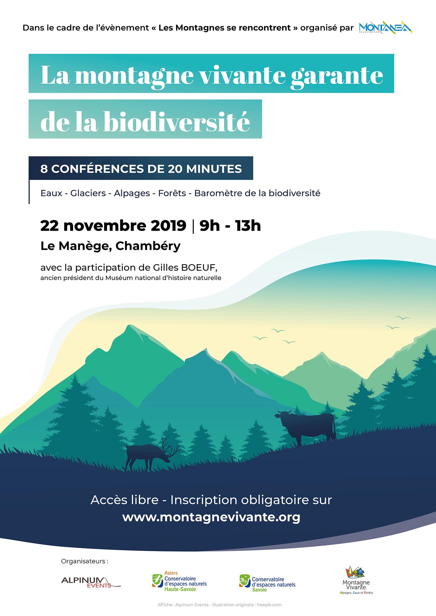 affiche montagne vivante, garante de la biodiversité